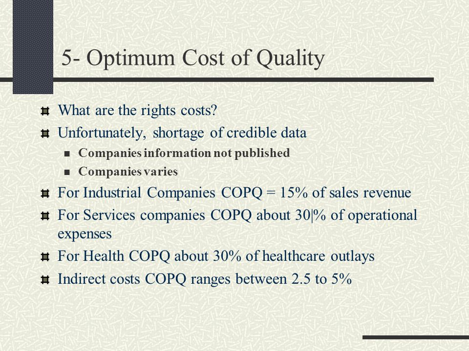 5- Optimum Cost of Quality What are the rights costs? Unfortunately, shortage of credible data Companies information not published Companies varies Fo