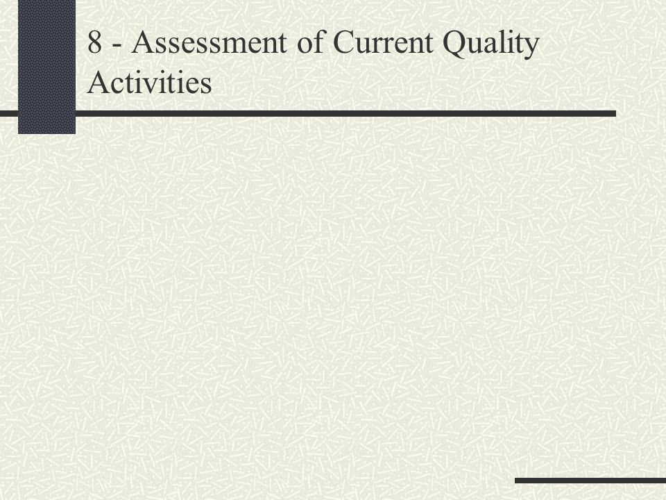 8 - Assessment of Current Quality Activities