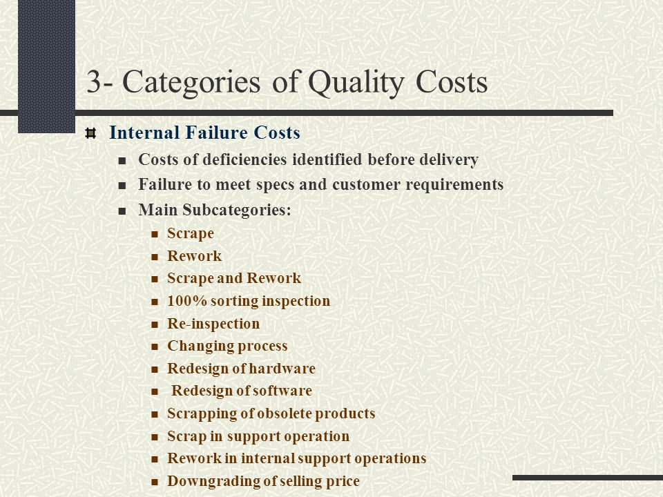 3- Categories of Quality Costs Internal Failure Costs Costs of deficiencies identified before delivery Failure to meet specs and customer requirements