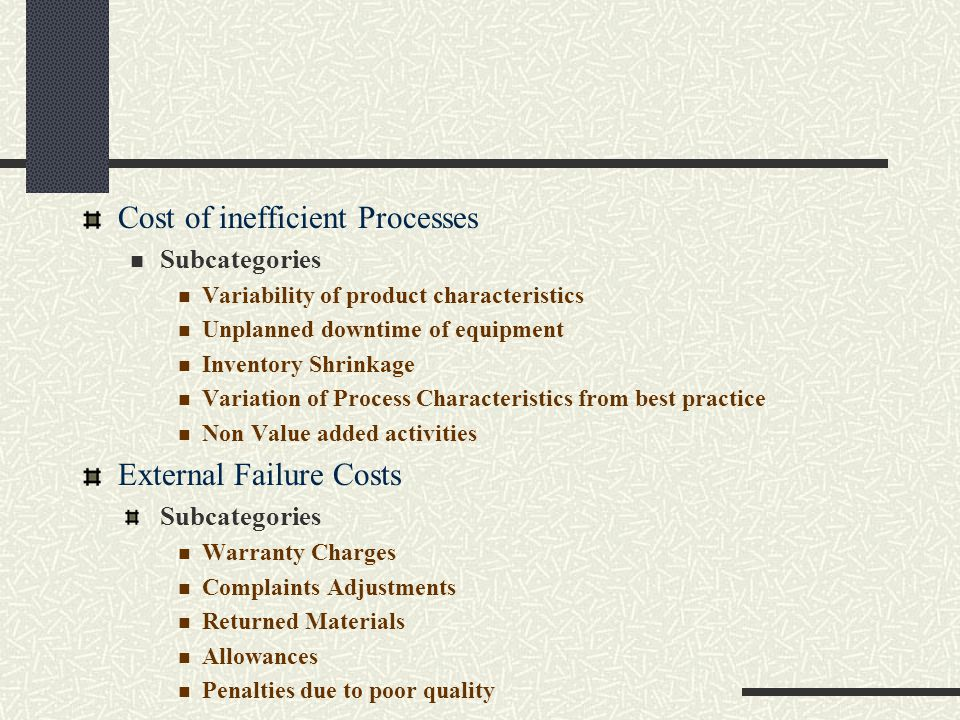 Cost of inefficient Processes Subcategories Variability of product characteristics Unplanned downtime of equipment Inventory Shrinkage Variation of Pr