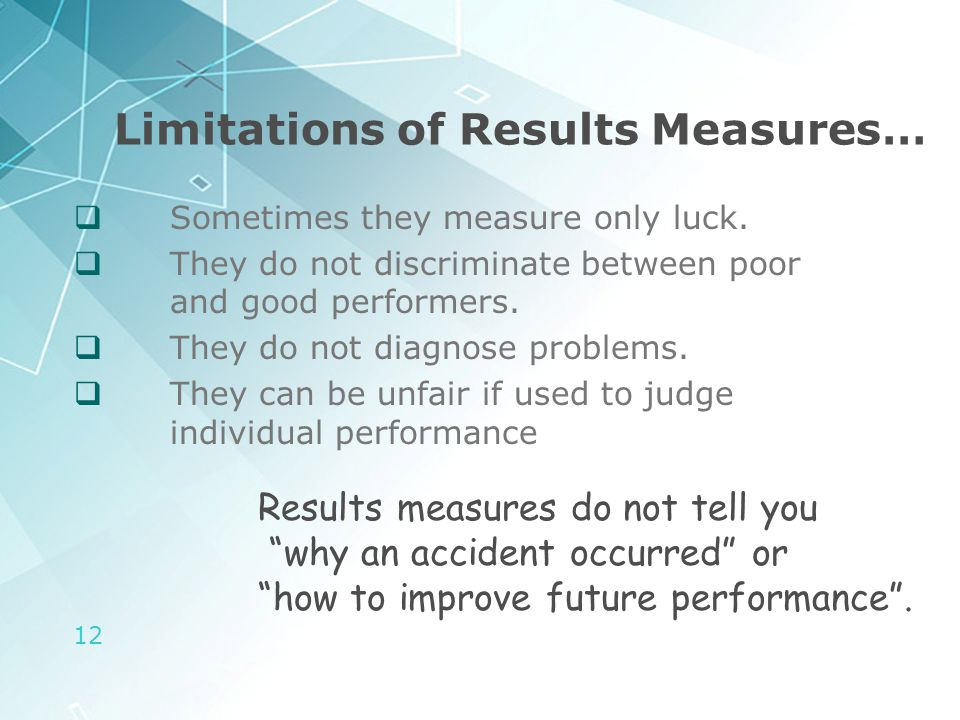 12 Limitations of Results Measures…  Sometimes they measure only luck.  They do not discriminate between poor and good performers.  They do not dia