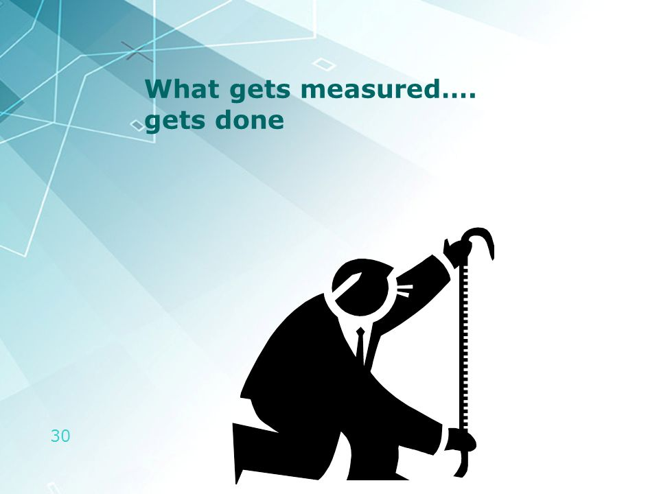 30 What gets measured…. gets done