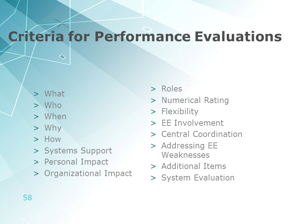 58 Criteria for Performance Evaluations >What >Who >When >Why >How >Systems Support >Personal Impact >Organizational Impact >Roles >Numerical Rating >