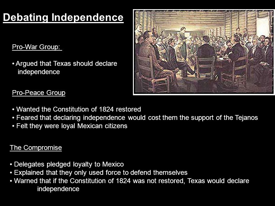 Debating Independence Pro-Peace Group Wanted the Constitution of 1824 restored Feared that declaring independence would cost them the support of the T