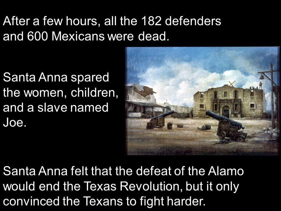 After a few hours, all the 182 defenders and 600 Mexicans were dead. Santa Anna spared the women, children, and a slave named Joe. Santa Anna felt tha