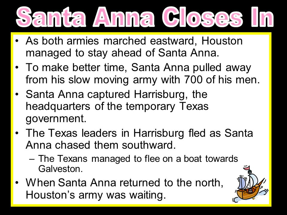 After the Battle of the Alamo, Santa Anna regrouped his troops and set out to search for any of the remaining Texas forces.