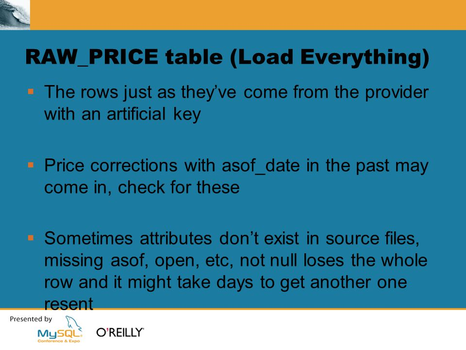 RAW_PRICE table (Load Everything)  The rows just as they've come from the provider with an artificial key  Price corrections with asof_date in the past may come in, check for these  Sometimes attributes don't exist in source files, missing asof, open, etc, not null loses the whole row and it might take days to get another one resent