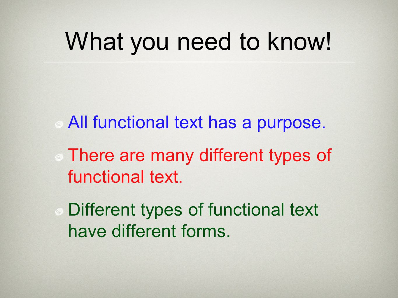 What you need to know! All functional text has a purpose. There are many different types of functional text. Different types of functional text have d