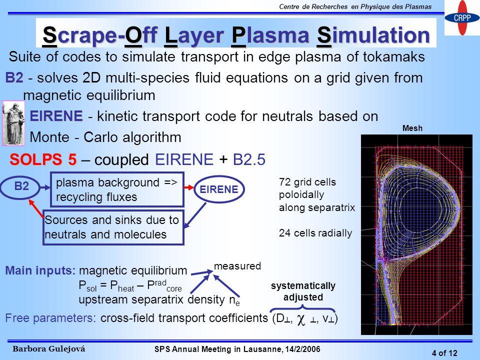 Barbora Gulejová 4 of 12 Centre de Recherches en Physique des Plasmas SPS Annual Meeting in Lausanne, 14/2/2006 Scrape-Off Layer Plasma Simulation Sui