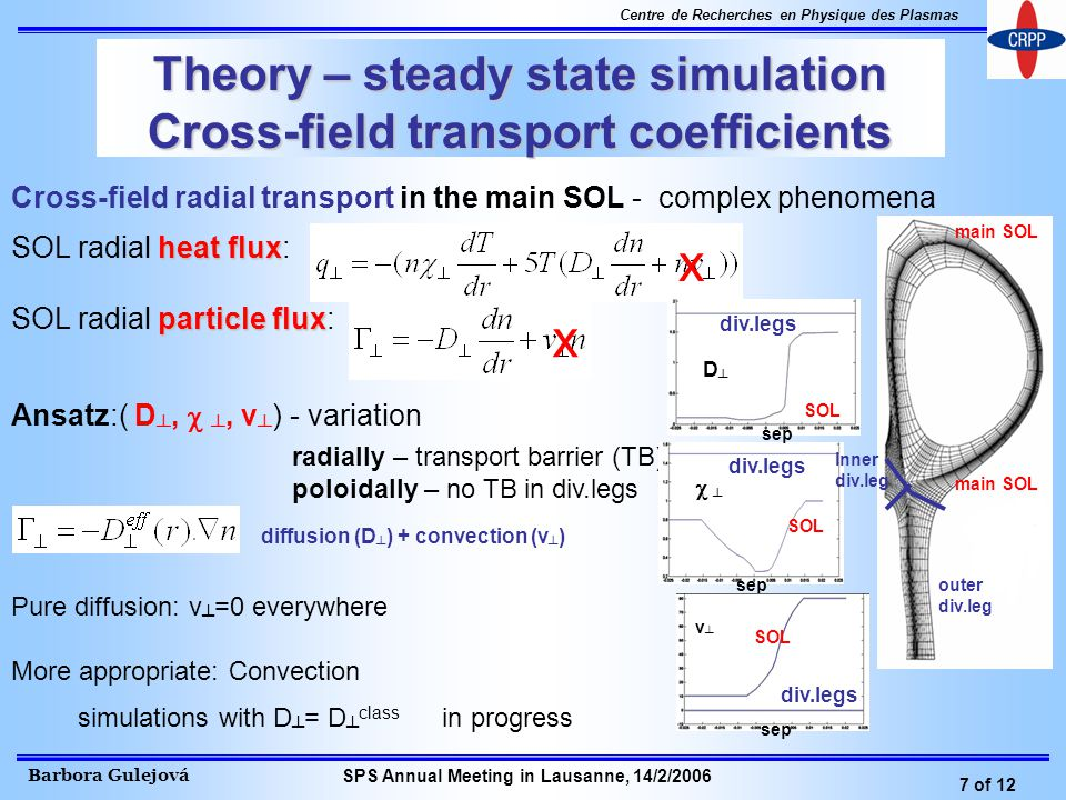 Barbora Gulejová 7 of 12 Centre de Recherches en Physique des Plasmas SPS Annual Meeting in Lausanne, 14/2/2006 Theory – steady state simulation Cross