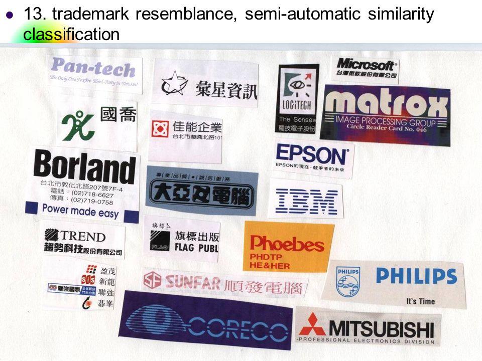 DC & CV Lab. CSIE NTU 13. trademark resemblance, semi-automatic similarity classification