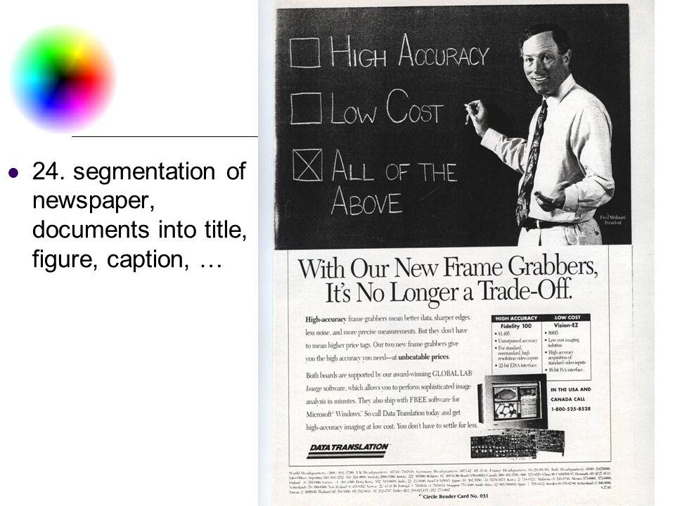 DC & CV Lab. CSIE NTU 24. segmentation of newspaper, documents into title, figure, caption, …
