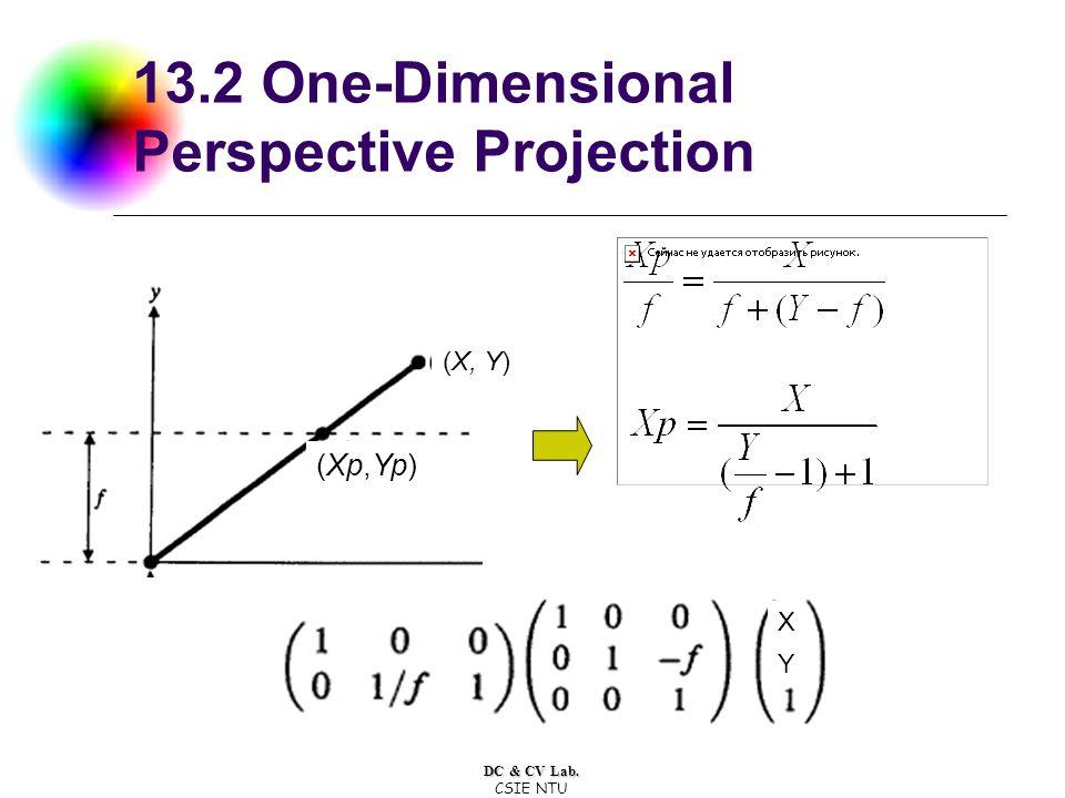 DC & CV Lab. CSIE NTU 13.2 One-Dimensional Perspective Projection (Xp,Yp) (X, Y) X Y