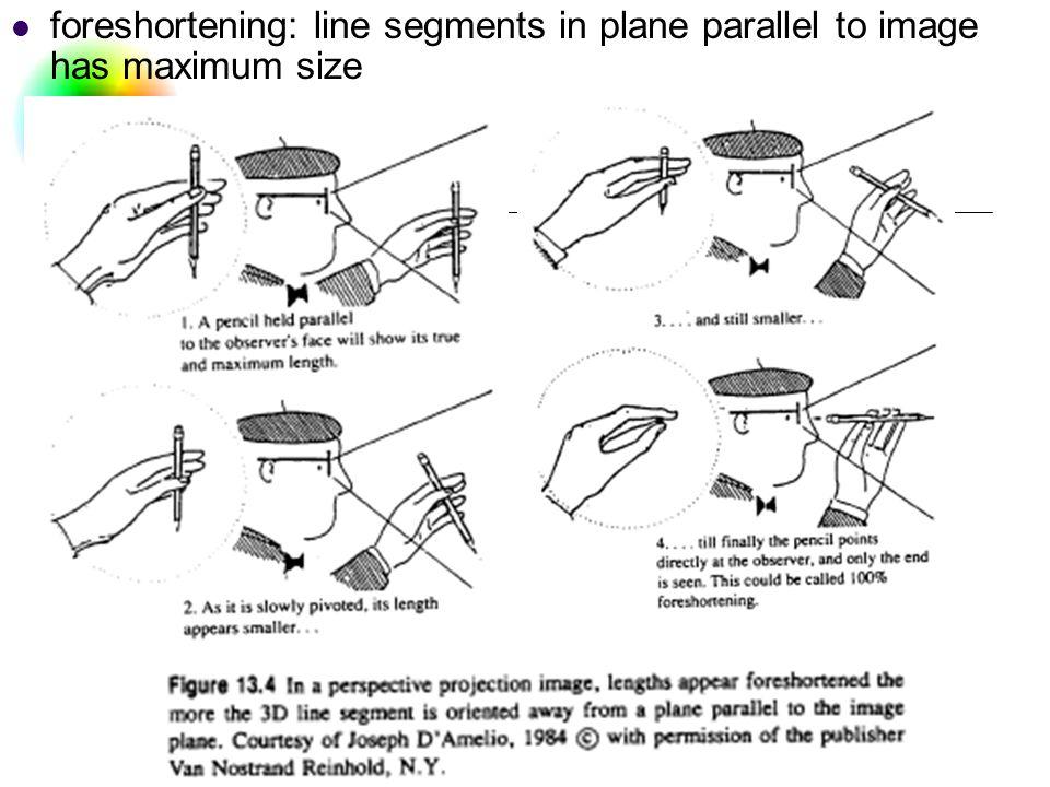 DC & CV Lab. CSIE NTU foreshortening: line segments in plane parallel to image has maximum size