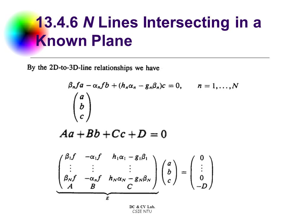 DC & CV Lab. CSIE NTU 13.4.6 N Lines Intersecting in a Known Plane