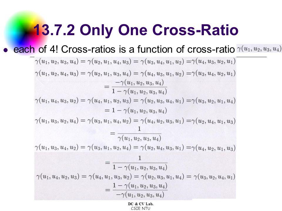 DC & CV Lab. CSIE NTU 13.7.2 Only One Cross-Ratio each of 4.