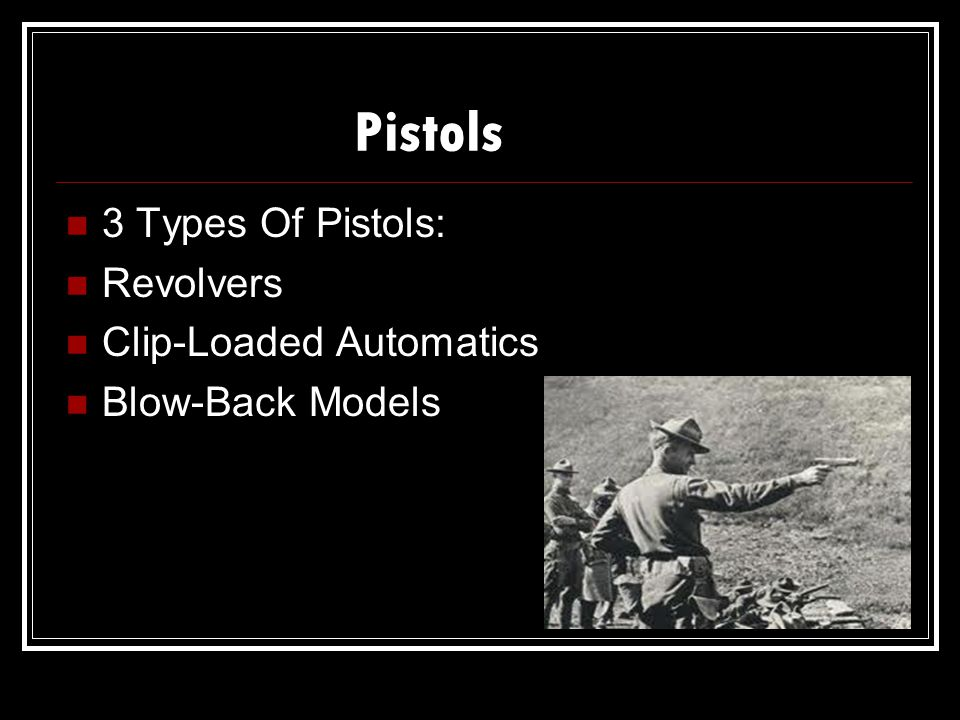 Pistols 3 Types Of Pistols: Revolvers Clip-Loaded Automatics Blow-Back Models