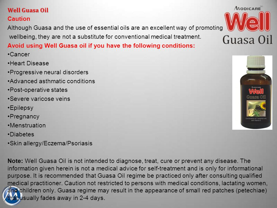 Well Guasa Oil Caution Although Guasa and the use of essential oils are an excellent way of promoting wellbeing, they are not a substitute for convent