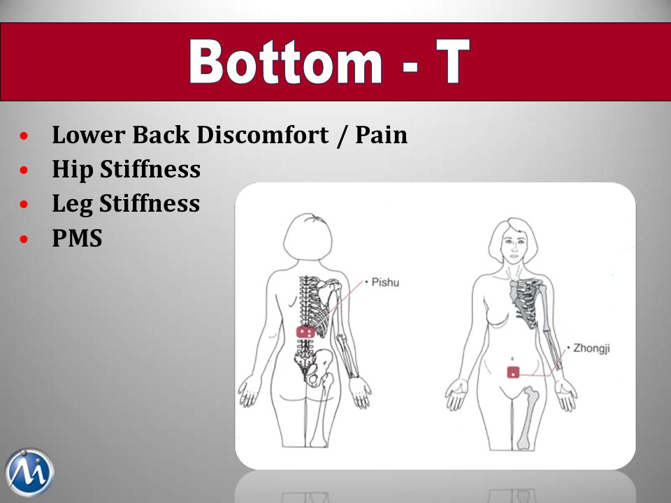 Lower Back Discomfort / Pain Hip Stiffness Leg Stiffness PMS