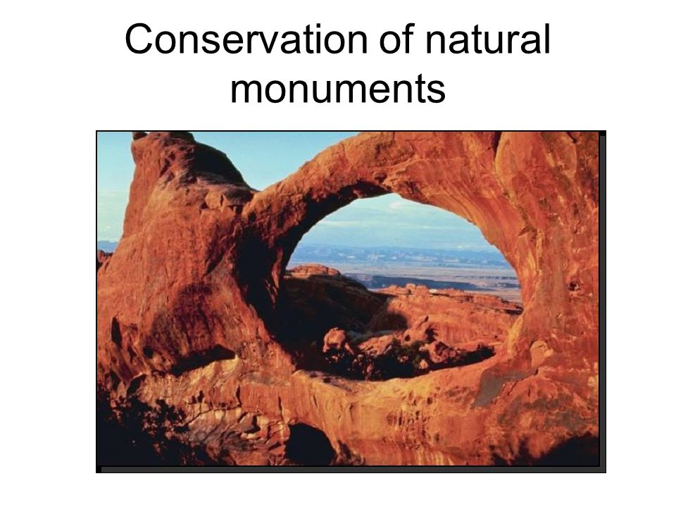 Conservation of natural monuments