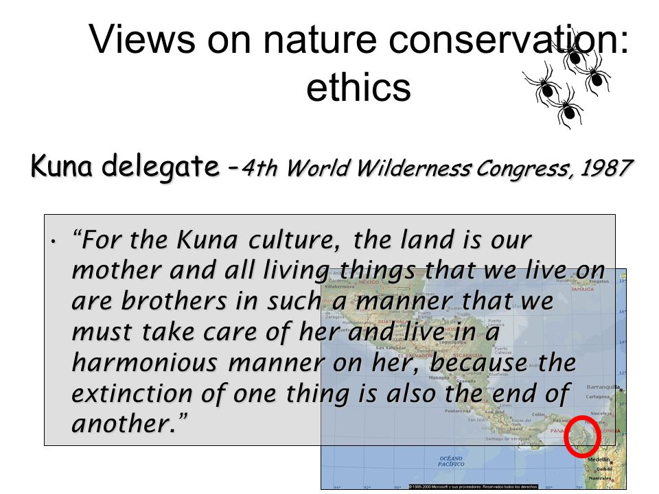 For the Kuna culture, the land is our mother and all living things that we live on are brothers in such a manner that we must take care of her and live in a harmonious manner on her, because the extinction of one thing is also the end of another. For the Kuna culture, the land is our mother and all living things that we live on are brothers in such a manner that we must take care of her and live in a harmonious manner on her, because the extinction of one thing is also the end of another. Views on nature conservation: ethics Kuna delegate - 4th World Wilderness Congress, 1987
