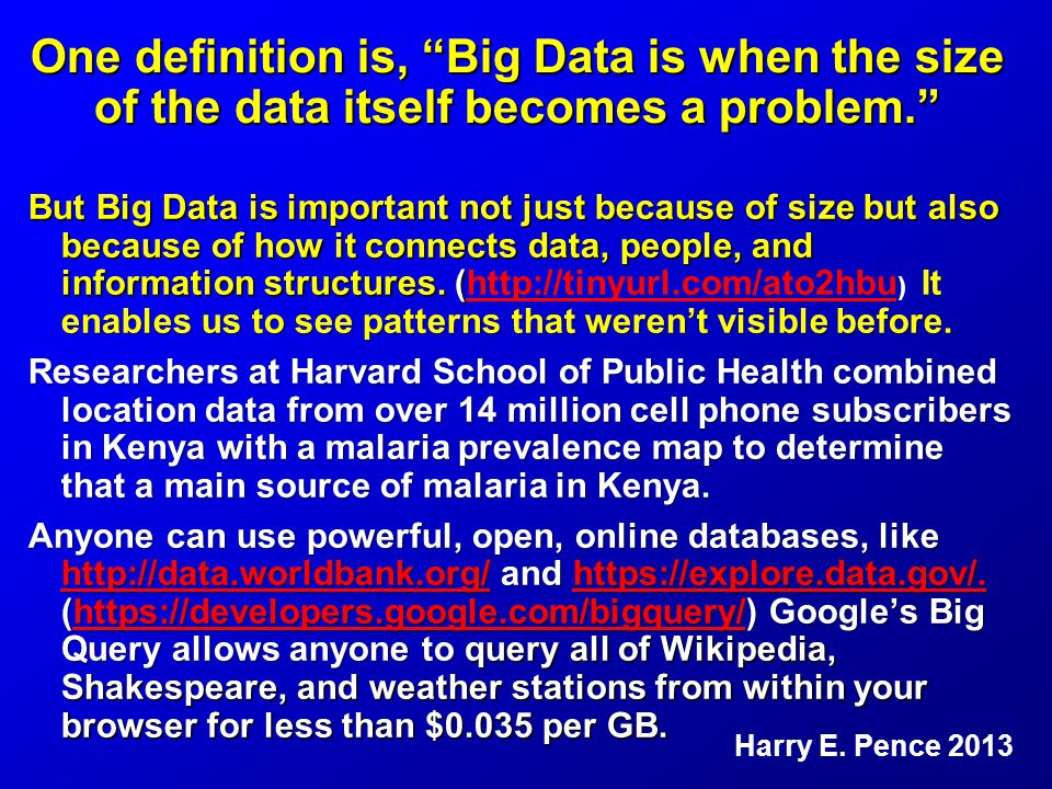 One definition is, Big Data is when the size of the data itself becomes a problem. But Big Data is important not just because of size but also because of how it connects data, people, and information structures.