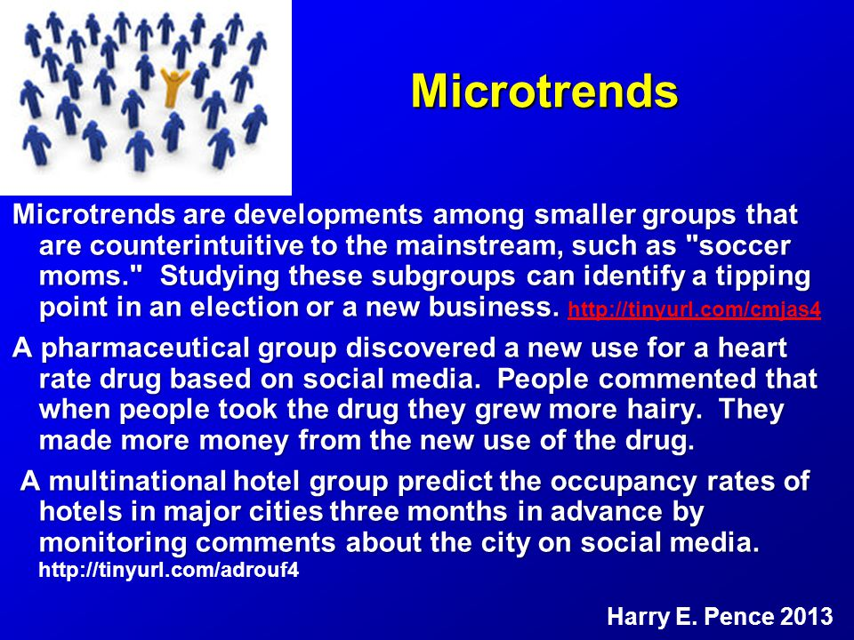 Microtrends Microtrends are developments among smaller groups that are counterintuitive to the mainstream, such as soccer moms. Studying these subgroups can identify a tipping point in an election or a new business.