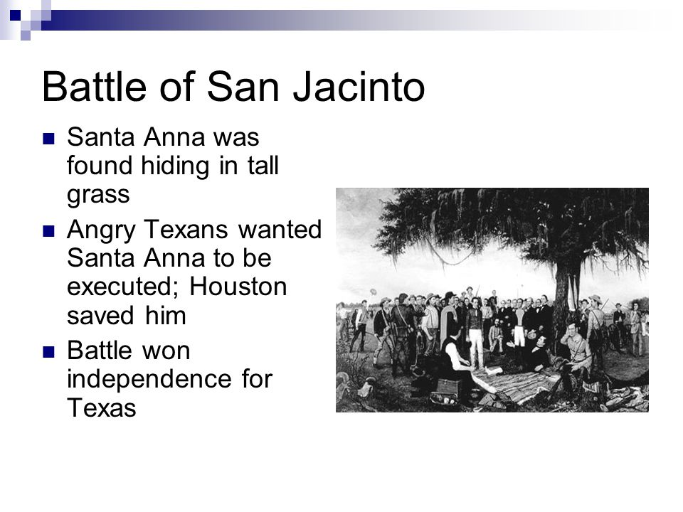 Battle of San Jacinto Santa Anna was found hiding in tall grass Angry Texans wanted Santa Anna to be executed; Houston saved him Battle won independence for Texas