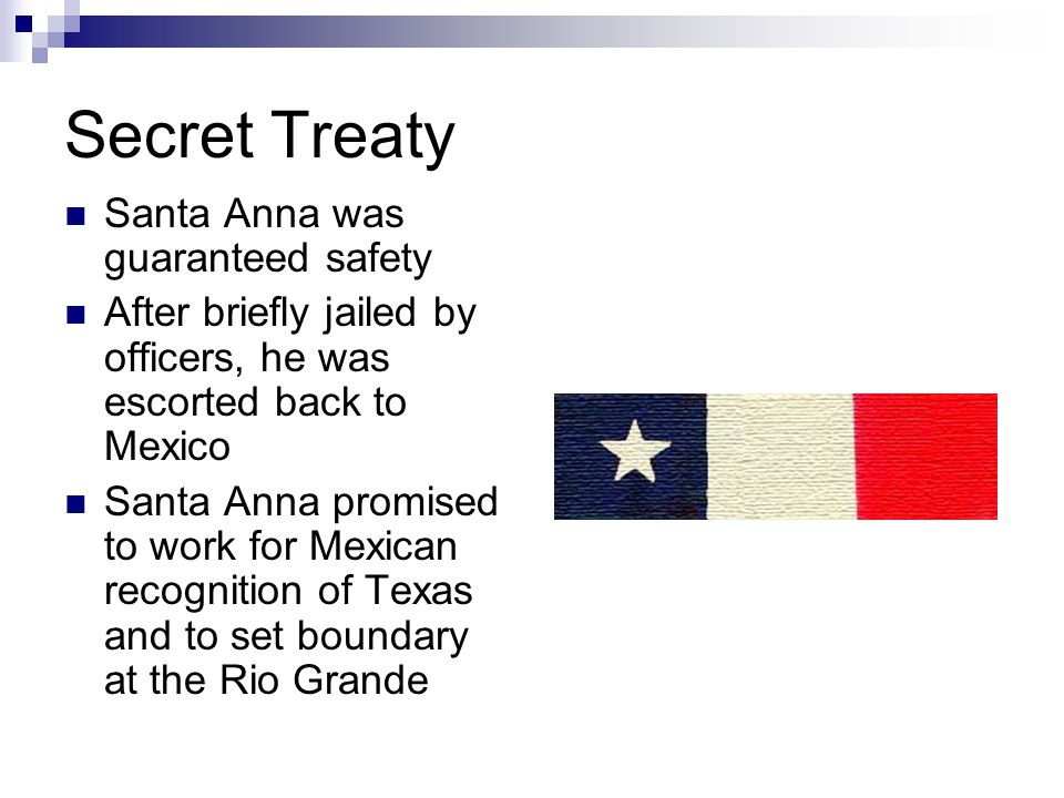 Secret Treaty Santa Anna was guaranteed safety After briefly jailed by officers, he was escorted back to Mexico Santa Anna promised to work for Mexican recognition of Texas and to set boundary at the Rio Grande