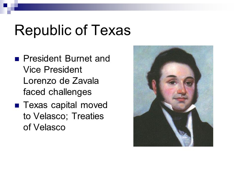 Republic of Texas President Burnet and Vice President Lorenzo de Zavala faced challenges Texas capital moved to Velasco; Treaties of Velasco