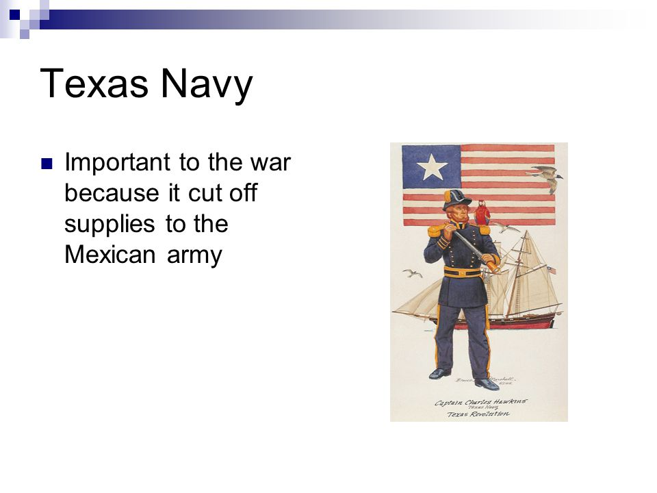 Texas Navy Important to the war because it cut off supplies to the Mexican army