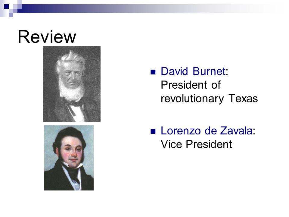 Review David Burnet: President of revolutionary Texas Lorenzo de Zavala: Vice President