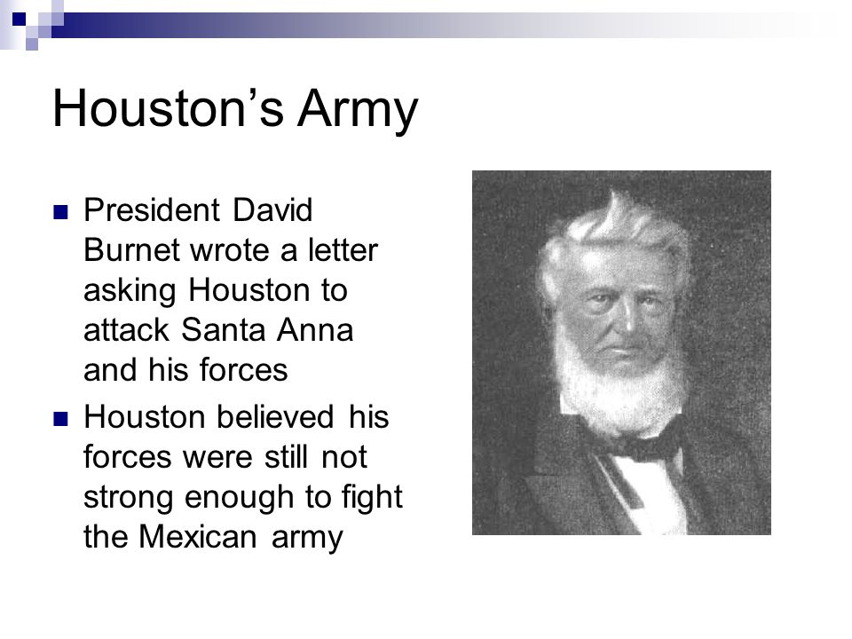 Houston's Army President David Burnet wrote a letter asking Houston to attack Santa Anna and his forces Houston believed his forces were still not strong enough to fight the Mexican army