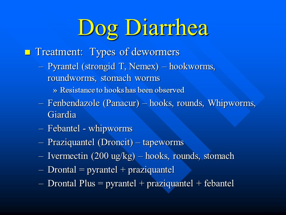 Dog Diarrhea Treatment: Types of dewormers Treatment: Types of dewormers –Pyrantel (strongid T, Nemex) – hookworms, roundworms, stomach worms »Resistance to hooks has been observed –Fenbendazole (Panacur) – hooks, rounds, Whipworms, Giardia –Febantel - whipworms –Praziquantel (Droncit) – tapeworms –Ivermectin (200 ug/kg) – hooks, rounds, stomach –Drontal = pyrantel + praziquantel –Drontal Plus = pyrantel + praziquantel + febantel
