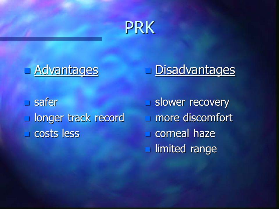PRK n Advantages n safer n longer track record n costs less n Disadvantages n slower recovery n more discomfort n corneal haze n limited range