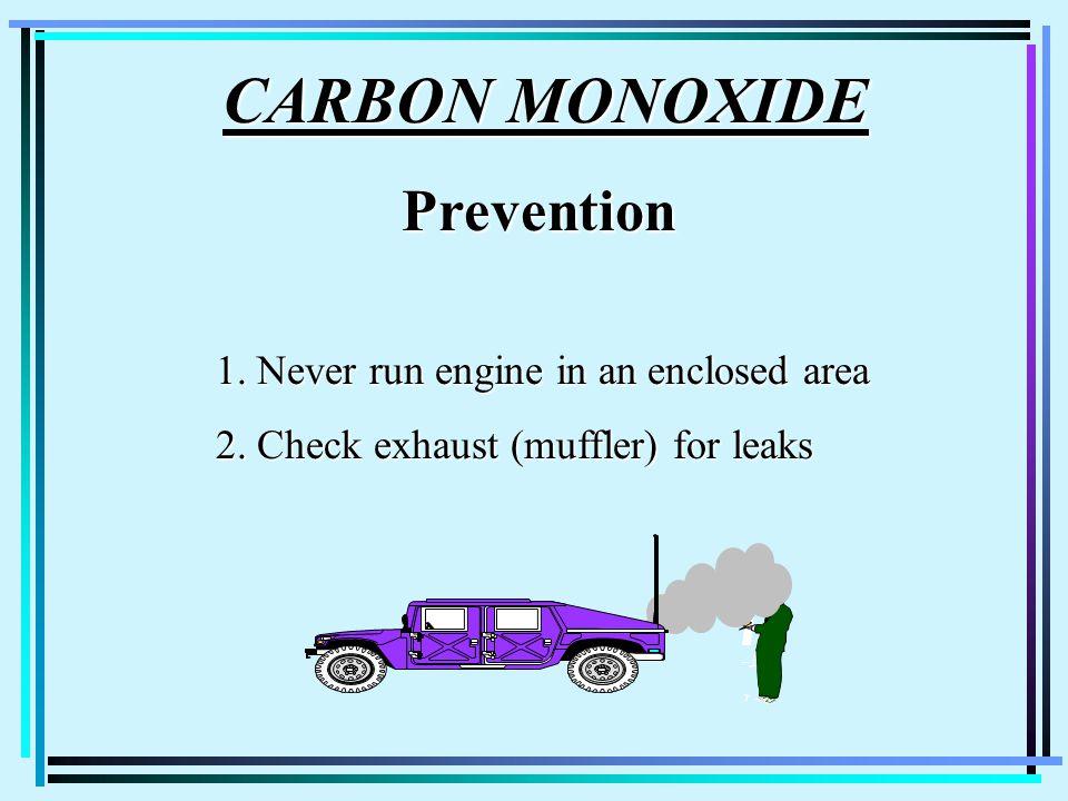 CARBON MONOXIDE CARBON MONOXIDEPrevention 1. Never run engine in an enclosed area 2. Check exhaust (muffler) for leaks