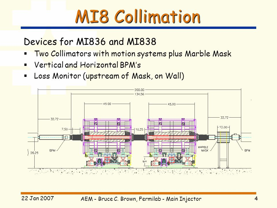 AEM - Bruce C. Brown, Fermilab - Main Injector 4 22 Jan 2007 MI8 Collimation Devices for MI836 and MI838  Two Collimators with motion systems plus Ma