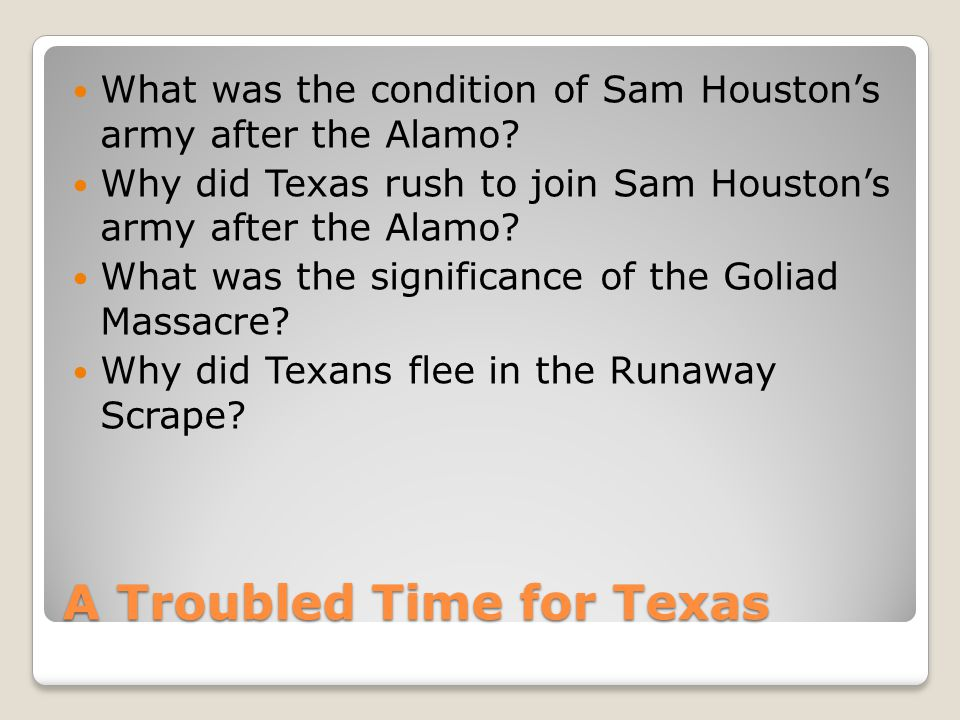 A Troubled Time for Texas What was the condition of Sam Houston's army after the Alamo.