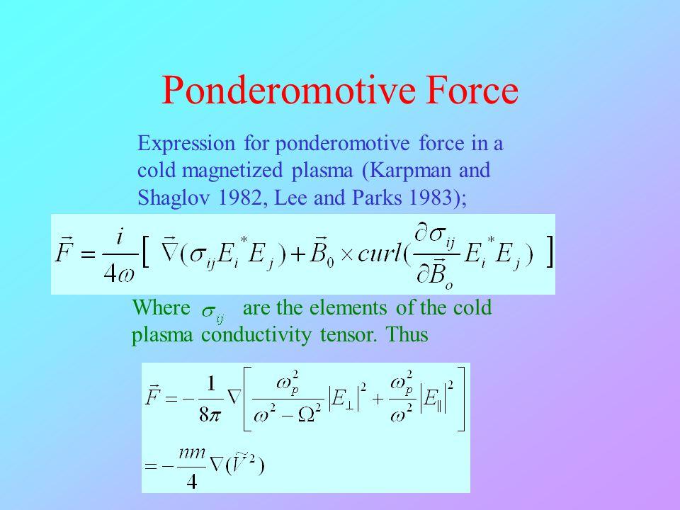 Ponderomotive Force Expression for ponderomotive force in a cold magnetized plasma (Karpman and Shaglov 1982, Lee and Parks 1983); Where are the eleme