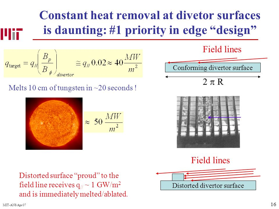 16 MIT-ANS Apr 07 Conforming divertor surface Constant heat removal at divetor surfaces is daunting: #1 priority in edge design Field lines Melts 10 cm of tungsten in ~20 seconds .