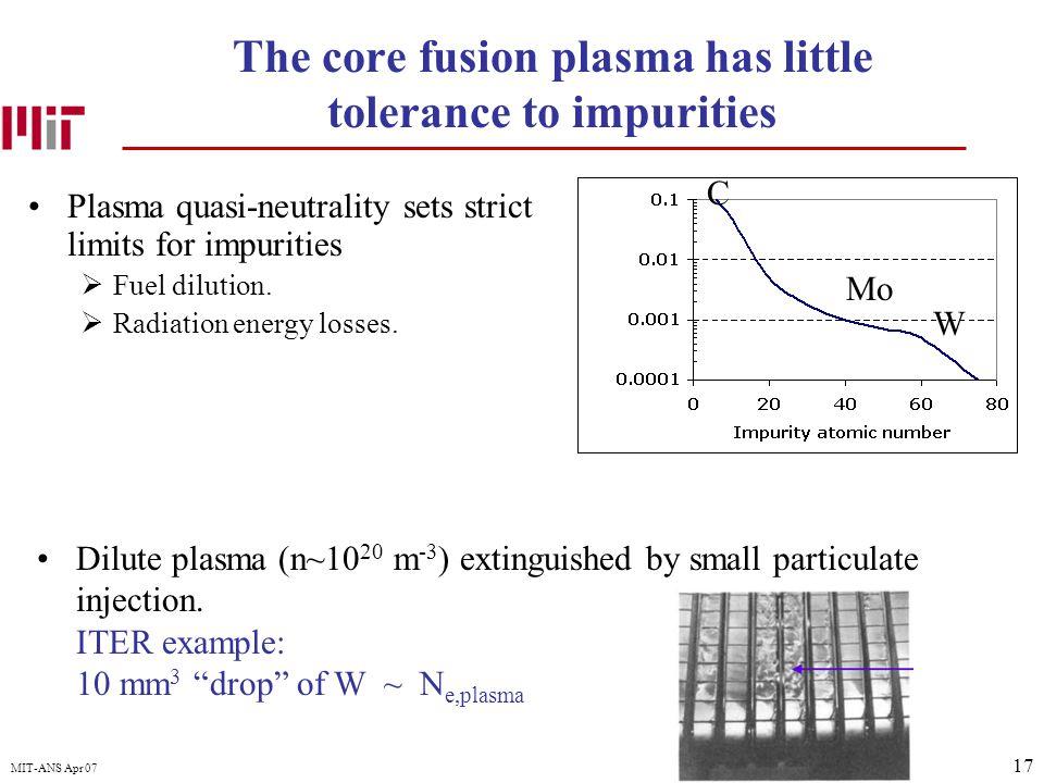 17 MIT-ANS Apr 07 The core fusion plasma has little tolerance to impurities Plasma quasi-neutrality sets strict limits for impurities  Fuel dilution.