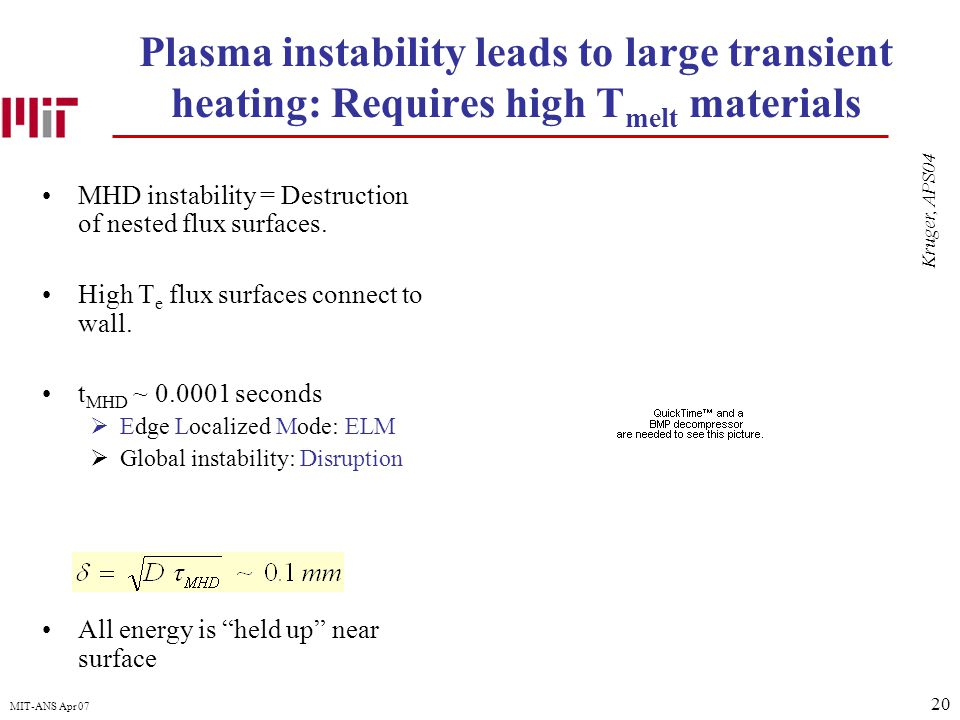 20 MIT-ANS Apr 07 Plasma instability leads to large transient heating: Requires high T melt materials MHD instability = Destruction of nested flux surfaces.