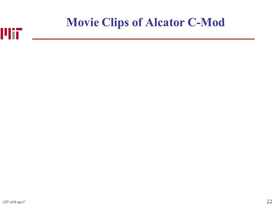 22 MIT-ANS Apr 07 Movie Clips of Alcator C-Mod