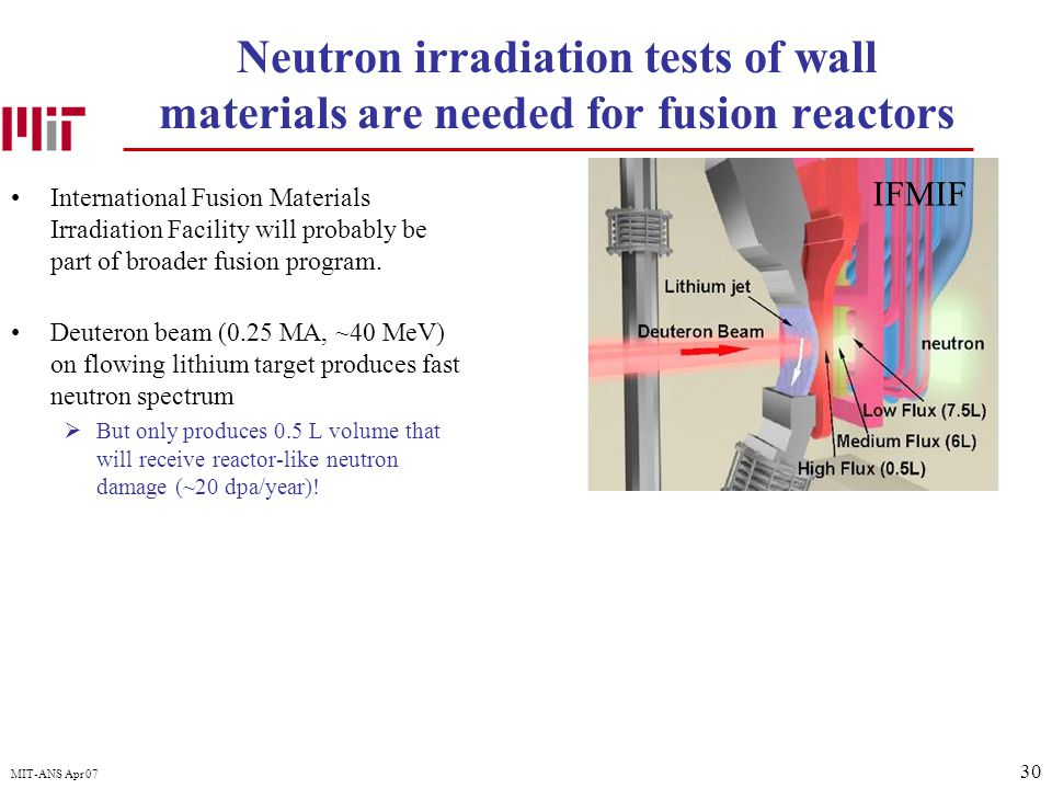 30 MIT-ANS Apr 07 Neutron irradiation tests of wall materials are needed for fusion reactors International Fusion Materials Irradiation Facility will