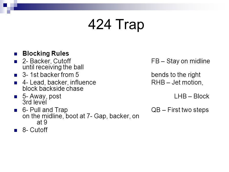 424 Trap Blocking Rules 2- Backer, CutoffFB – Stay on midline until receiving the ball 3- 1st backer from 5bends to the right 4- Lead, backer, influen