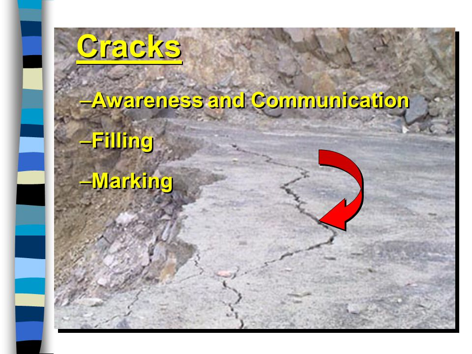 Cracks –Awareness and Communication –Filling –Marking –Awareness and Communication –Filling –Marking