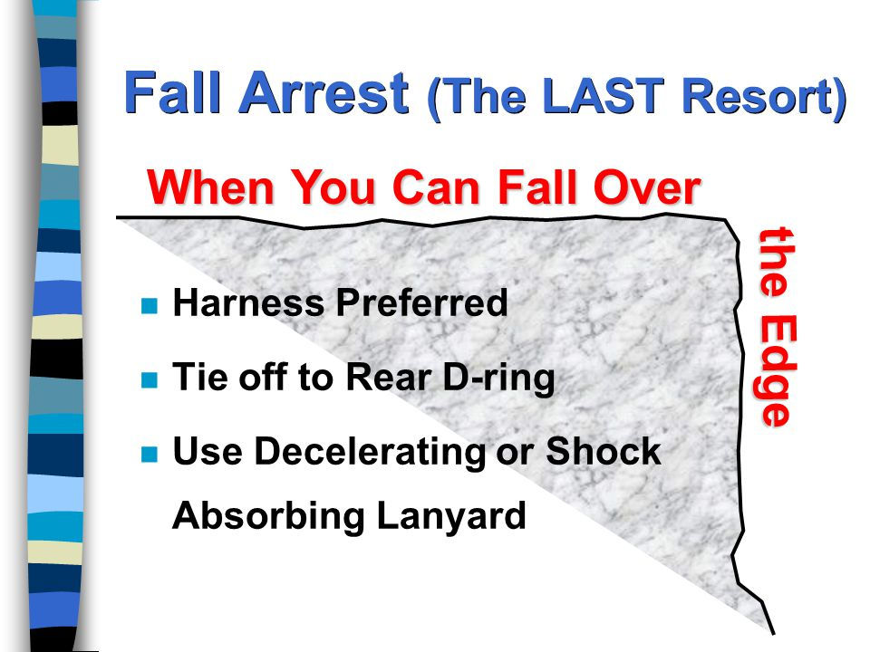 Fall Arrest (The LAST Resort) n Harness Preferred n Tie off to Rear D-ring n Use Decelerating or Shock Absorbing Lanyard When You Can Fall Over the Edge