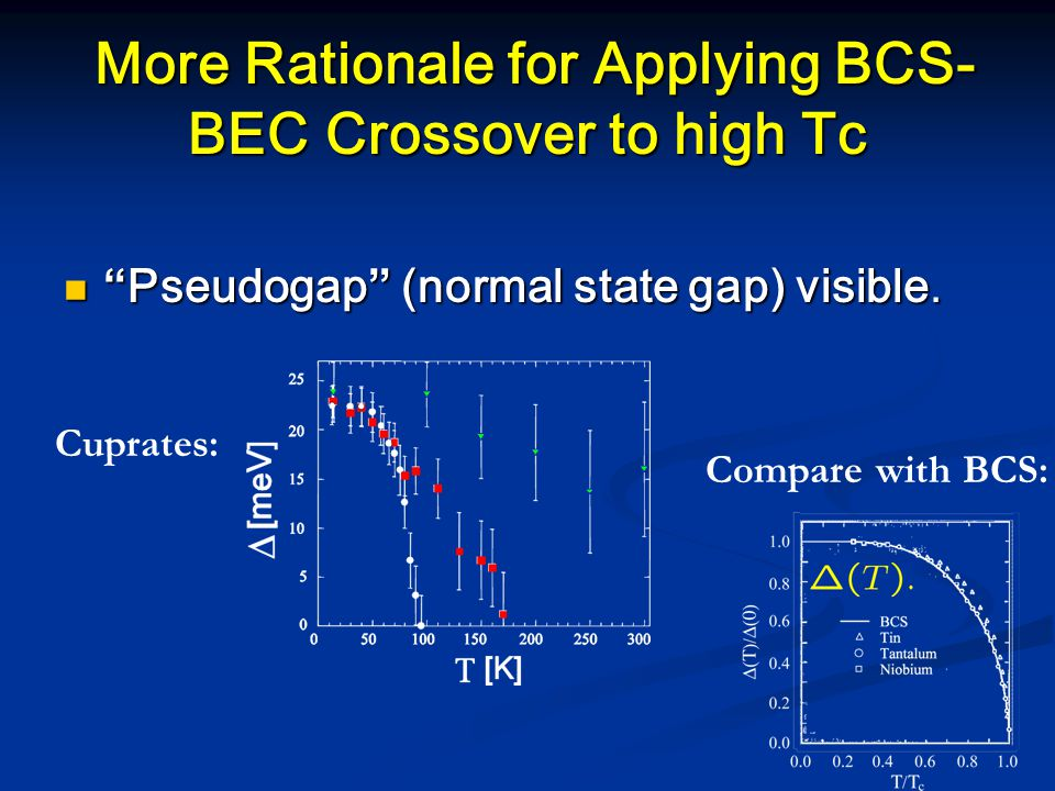 More Rationale for Applying BCS- BEC Crossover to high Tc More Rationale for Applying BCS- BEC Crossover to high Tc Pseudogap (normal state gap) visible.