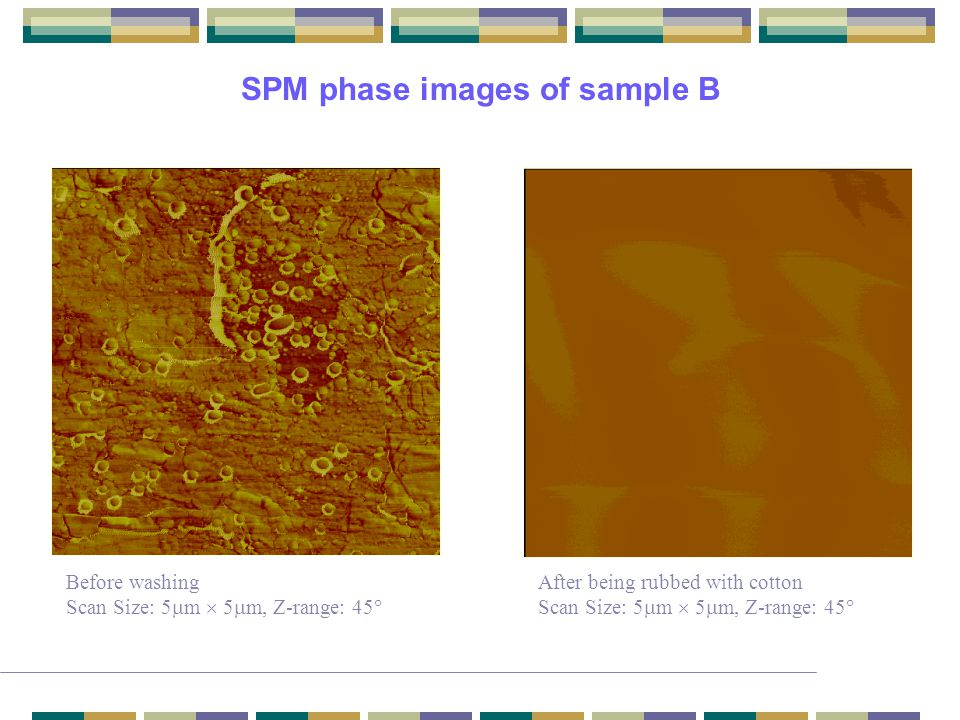 SPM phase images of sample B Before washing Scan Size: 5  m  5  m, Z-range: 45  After being rubbed with cotton Scan Size: 5  m  5  m, Z-range: 45 