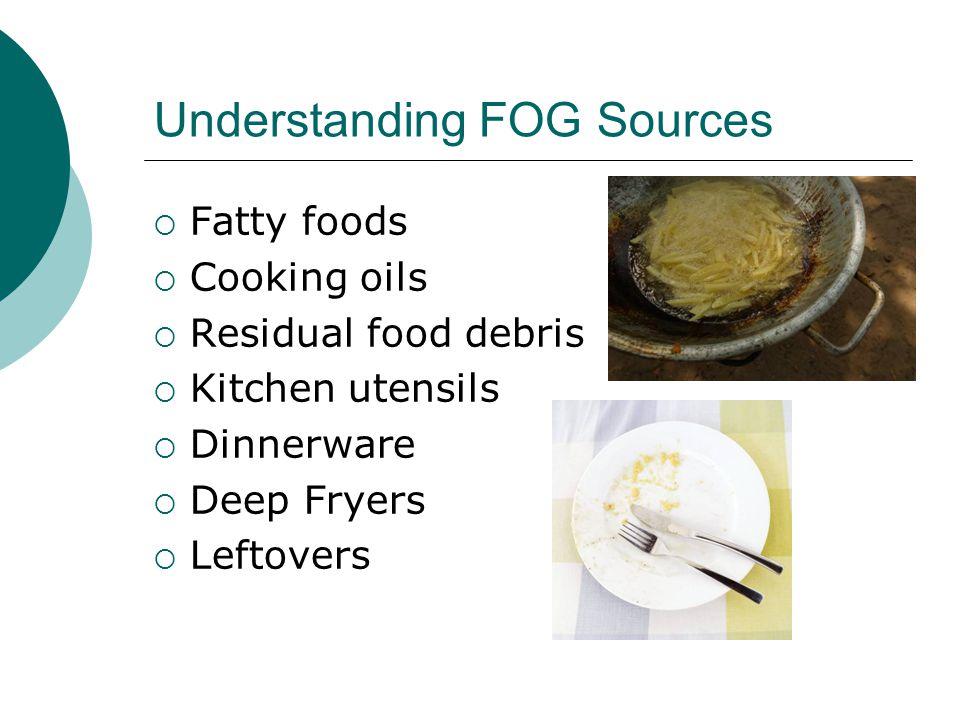 Understanding FOG Sources  Fatty foods  Cooking oils  Residual food debris  Kitchen utensils  Dinnerware  Deep Fryers  Leftovers